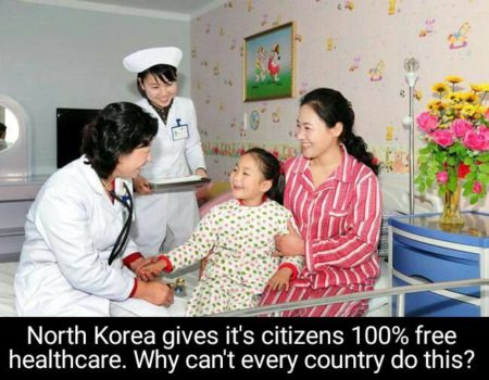 """North Korea gives it's citizens 100% free healthcare. Why can't every country do this?"""
