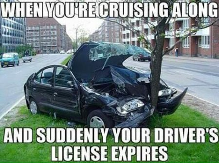 """When you're cruising along and, suddenly, your driver's license expires"""