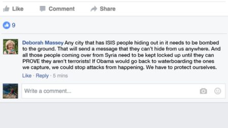 """Deborah Massey: Any city that has ISIS people hiding out in it needs to be bombed to the ground. That will send a message that they can't hide from us anywhere. And all those people coming over from Syria need to be kept locked up until they can PROVE they aren't terrorists! If Obama would go back to waterboarding the ones we capture, we could stop attacks from happening. We have to protect ourselves."""