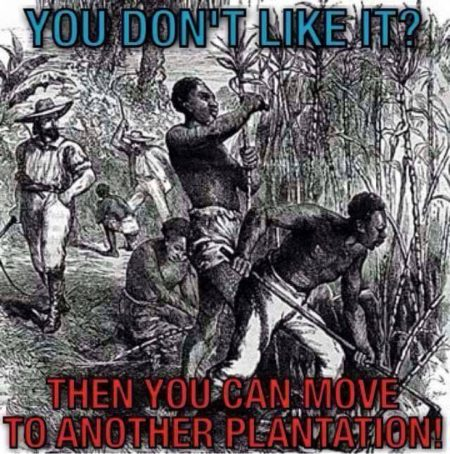 """You don't like it? Then, move to another plantation."""