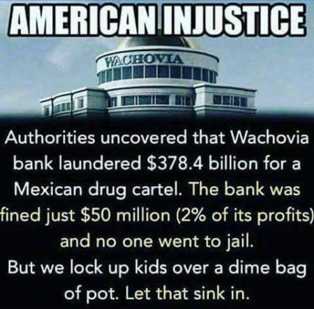 """American Injustice: Authorities uncovered that Wachovia bank laundered $378.4 billion for a Mexican drug cartel. The bank was fined just $50 million (2% of its profits) and no one went to jail. But, we lock up kids over a dime bag of pot. Let that sink in."""