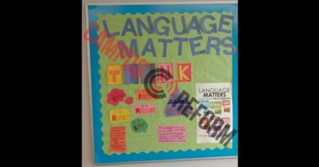 """Language Matters"" campaign poster, decorating residential hall at Rutgers University"