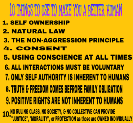 """10 Things to Use to Make You a Better Human 1. Self Ownership 2. Natural Law 3. The Non-Aggression Principle 4. Consent 5. Using Conscience at All Times 6. All Interactions Must be Voluntary 7. Only Self Authority is Inherent to Humans 8. Truth & Freedom Come Before Family Obligations 9. Positive Rights Are Not Inherent to Humans 10. No Ruling Class, Society, & Collective Can Provide 'Justice,' 'Morality,' or Protection, as These Are Owned, Individually"""