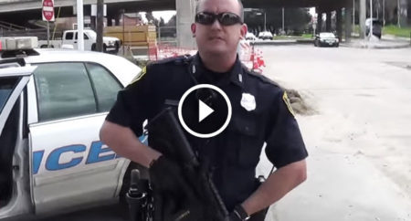 Costumed criminal in Houston, Texas police department, wearing badge #7428