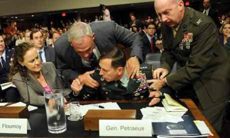 General David Petraeus collapses while testifying before the Senate armed services committee