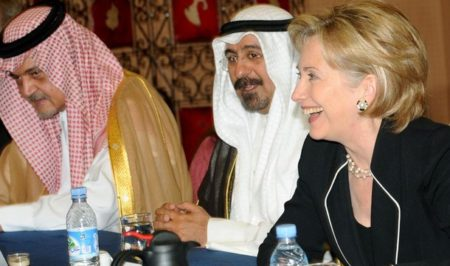 Hillary Clinton, meeting with Kuwaiti Minister of State for Foreign Affairs Mohammed Al-Sabah Qlors and Prince Saud Al-Faisal Minister of Foreign Affairs of Saudi Arabia, in Marrakech , in November of 2009, during her time as US Secretary of State