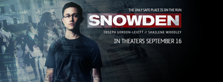 """The only safe place is on the run. Snowden. In theaters September 16."""