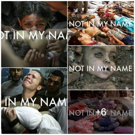"""Not in My Name"" (note and warning: this is a screenshot of how the album appears when shared upon Facebook - click here to see individual pictures, which are very graphic)"