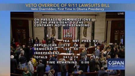 """Veto Override of 9/11 Lawsuits Bill. Veto Overridden; First Time in Obama Presidency"""