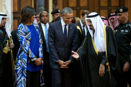 Barack Obama, Michelle Obama, and King Salman bin Abdulaziz of Saudi Arabia