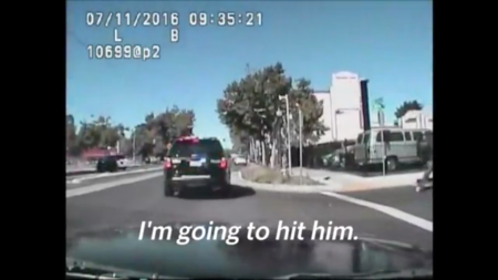 Dashcame footage from the patrol vehicle of officers Randy Lozoya and John Tennis