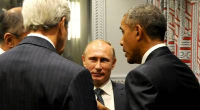 John Kerry, Vladimir Putin, and Barack Obama