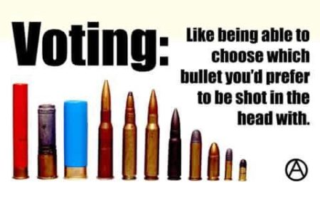 """Voting: like being able to choose which bullet you'd prefer to be shot in the head with."""
