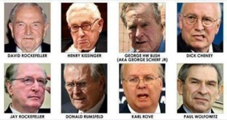 """""""David Rockefeller, Henry Kissinger, George HW Bush (AKA George Scherf Jr), Dick Cheney, Jay Rockefeller, Donald Rumsfeld, Karl Rove, Paul Wolfowitz"""""""