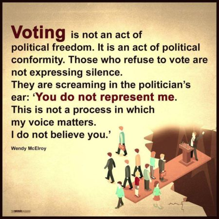 """Voting is not act of political freedom. It is an act of political conformity. Those who refuse to vote are not expressing silence. They are screaming in the politician's ear: 'You do not represent me. This is not a process in which my voice matters. I do not believe you'."" - Wendy McElroy"
