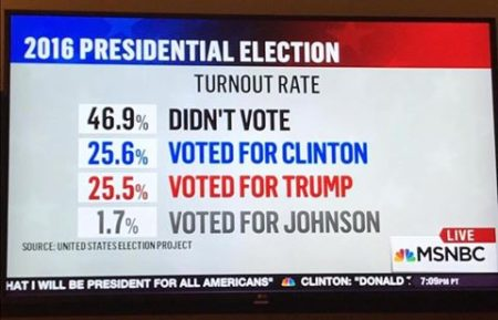 The Presidential Election Turnout Rate: 46.9% Didn't Vote 25.6% Voted for Clinton 25.5% Voted for Trump 1.7% Voted for Johnson""