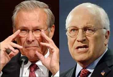 War-mongering neo-cons, Donald Rumsfeld and Dick Cheney