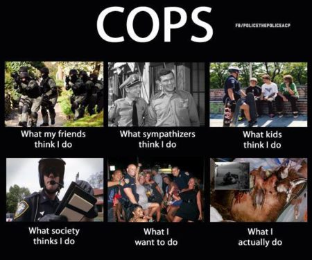 """Cops: What my friends think I do, What sympathizers think I do, What kids think I do, What society thinks I do, What I want to do, What I actually do."" (Artwork originally located here, on the Facebook page, ""CopBlock"")"