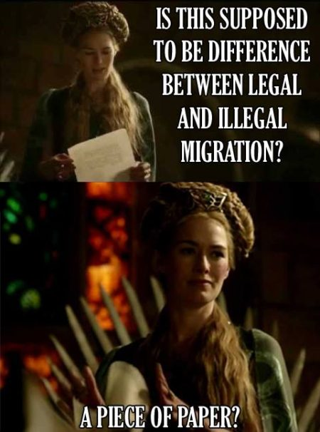 """Is this supposed to be the difference between legal and illegal migration? A piece of paper?"""