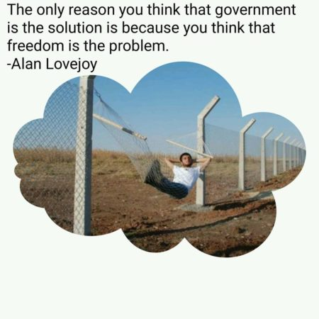 """The only reason you think that government is the solution is because you think that freedom is the problem."" - Alan Lovejoy"